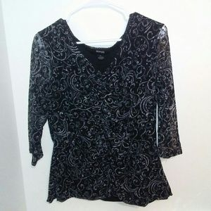 Style & Co Black Lace Shirt